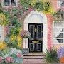 Porte d'entrée noire maison anglaise. Salsera