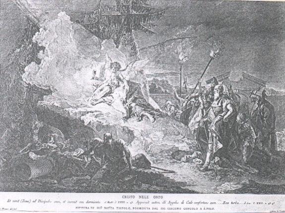 Jesus am Ölberg. Kupferstich zum Vergleich. Pietro Monaco Galerie Geran