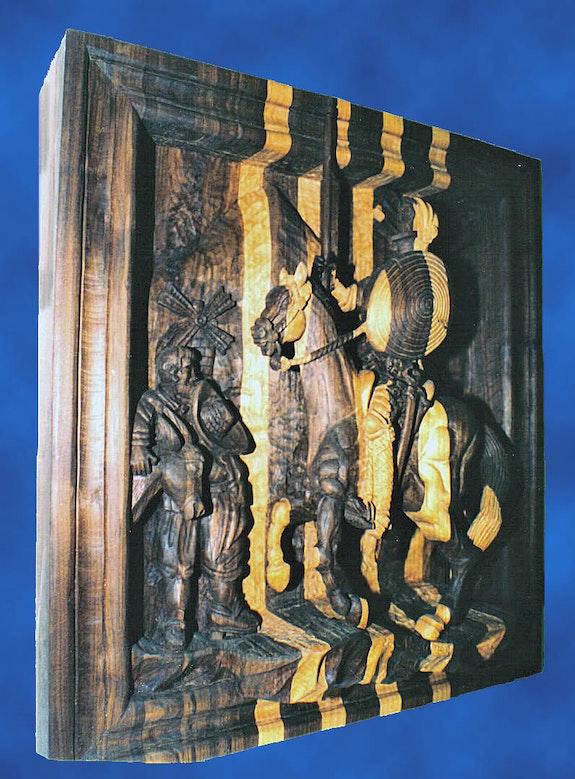 Quixote in two types of wood.  Jose Antonio Alcantar