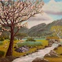 The appletree in spring with rain coming. Lisette