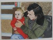 Franck bébé (oeuvre de René, mon père).