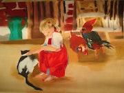 Fillette au chat noir et blanc. Christine Quemeurec