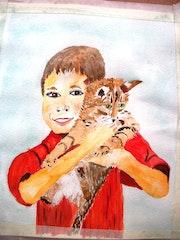 L'enfant et le chaton.