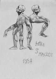 Série de dessin anatomique ayant pour thème l'Aître Saint-Maclou.. Jim Quéré