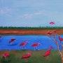 Les Ibis rouges (acrylique). Ghislaine Phelut