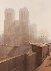 Contre-jour sur Notre Dame au matin.