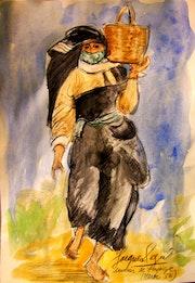 Souvenir de voyage (le retour du marché) (maroc 56).