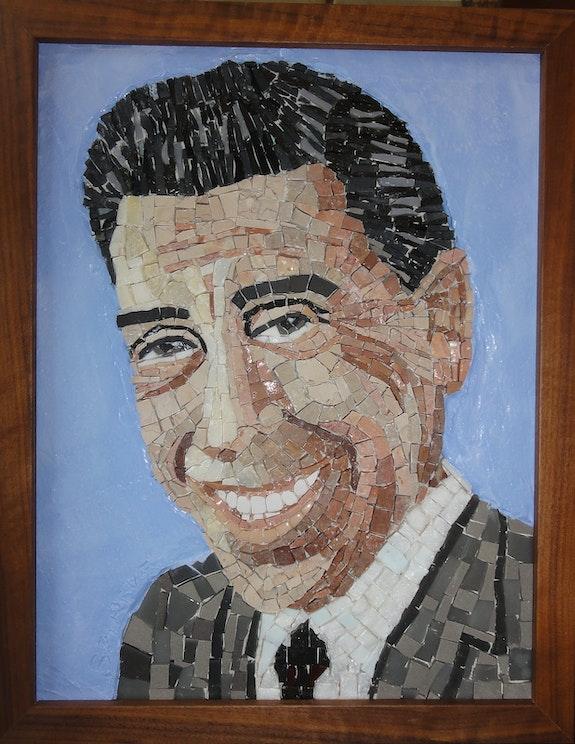 Mosaique représentant Fernandel.  Brigitte Reverdy
