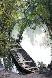 Une barque sur le Mekong.