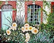 Les dahlias sous la fenêtre - Jardin d'Angélique - Eure.