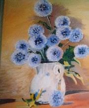 Un jarron con flores-oleo. M. Pilar