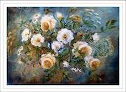 Meli melo de roses, ombelliferes, marguerites.