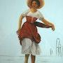 Peinture sous verre - une esquisse d'une autre ramasseuse de coquillages.. Annie Saltel