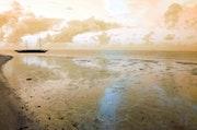 Une plage, le soir à l'Ile Maurice, Bain Boeuf..