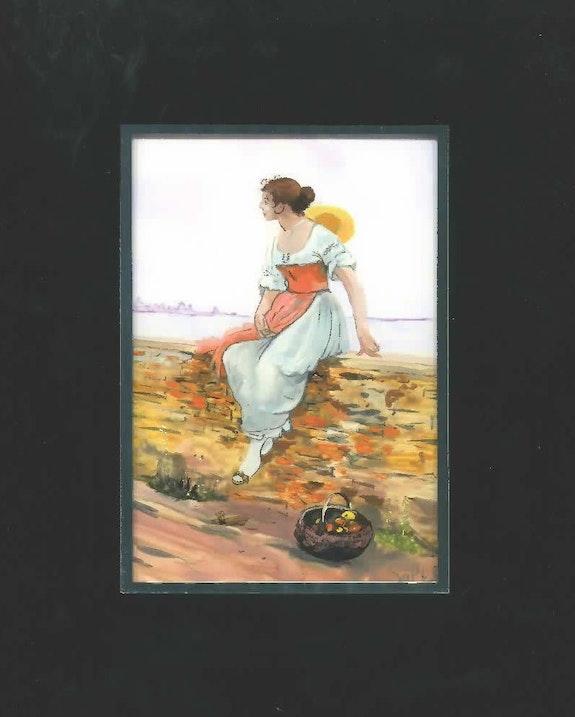 Peinture sous verre - Une venitienne pensive. Annie Saltel Annie Saltel