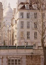 La rue de Bièvre et le Panthéon.