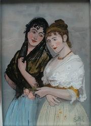Peinture sous verre - Série les Vénitiennes -. Annie Saltel