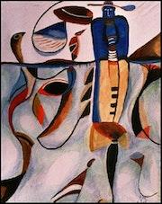 Choregraphie d'une danse autochtone- 2003, Gouache, Tempera, 150x109. Albert Reck