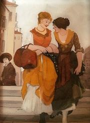 Peinture sous verre - série «les vénitiennes». Annie Saltel
