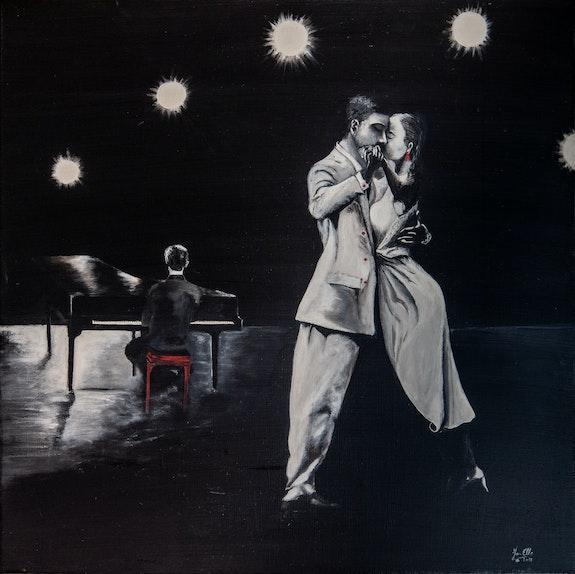 Peinture Acrylique, Noir et Blanc avec une pointe de couleur. Jo-Elle Jo-Elle