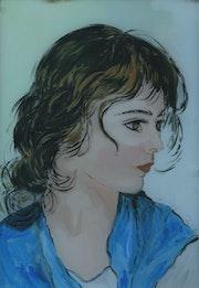 Peinture sous verre - une petite fille de Venise. Annie Saltel