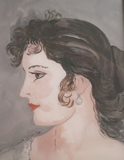 Peinture sous verre - Une vénitienne. Annie Saltel