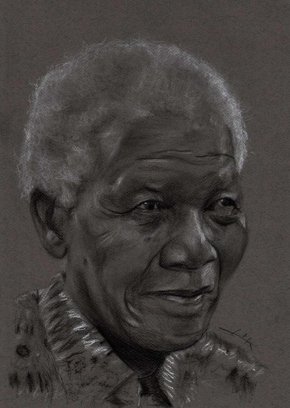 Nelson Mandela portrait au fusain. Philippe Flohic Philippe Flohic
