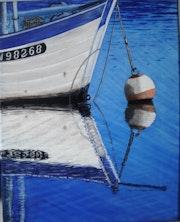 Reflet proue bateau peche.