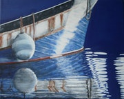 Reflet bateau pêche bleu.