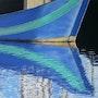 Reflet bateau pêche vert. Castagné