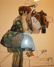 Peinture sous verre - Autre silhouettes de Venise. Annie Saltel