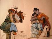 Peintures sous verre - Un pique-nique au gré des canaux de Venise.
