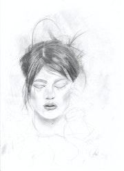 Camille Dalmais Portrait crayon.