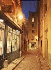 Le passage du Chantier à la nuit tombée.