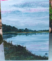 Au bord du fleuve / Acrylique sur toile. Mariraff
