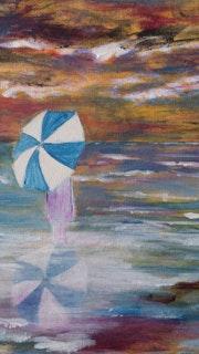 Reflets d'un parapluie dans l'eau.