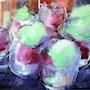Glaces pistache framboise. Martine Brandolin