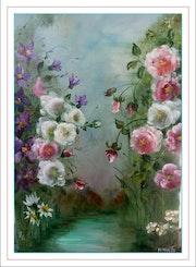 Harmonie de roses et de clématites.