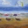Les parasols à la plage. Christiane Gilbert