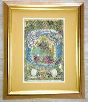Gerahmtes Blatt «Gottvater», Schedel'sche Weltchronik 1493, koloriert.. Thomas Kern