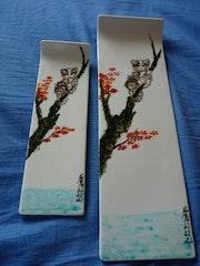 Chat perché - peinture sur porcelaine - Plume Magicienne.