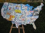 Carte plaques immatriculation usa license plates map art. Eric Meillet