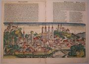 Doppelseitige Stadtansicht Bamberg, Schedel'sche Weltchronik 1493, koloriert. Thomas Kern