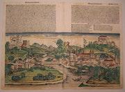 Doppelseitige Stadtansicht Salzburg, Schedel'sche Weltchronik 1493, koloriert. Thomas Kern