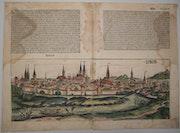 Doppelseitige Stadtansicht Lübeck, Schedel'sche Weltchronik 1493, koloriert. Thomas Kern