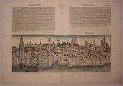 Doppelseitige Stadtansicht Magdeburg, Schedel'sche Weltchronik 1493, koloriert. Thomas Kern