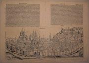 Doppelseitige Stadtansicht Erfurt, Schedel'sche Weltchronik 1493, s/w. Thomas Kern
