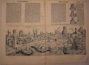 Doppelseitige Stadtansicht Köln, Schedel'sche Weltchronik 1493, s/w. Thomas Kern