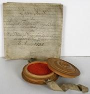 Original Lehensbrief für August Ferdinand von Bennigsen, 21. Juni 1755. «Thurm». Thomas Kern