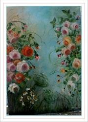 Méli mélo de roses, ombellifères, marguerites.